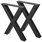"VEVOR Set of 2 Steel Table Legs, 28""Height 24""Wide Dining Table Legs,Heavy Duty 3.1'Square Box Section X Frame Table Legs,28x24x3.1 Inch Black Color Industrial Country Style Metal Dining Legs"