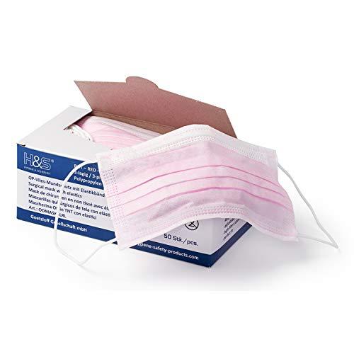 Mundschutz (OP Vlies-Mundschutz) 50 Stück-Packung von ISC H&S mit Elastikband in Komfortlänge, 3-lagig, 100% PP, mit Nasenbügel, glasfaserfrei, latexfrei (3-lagig rot)