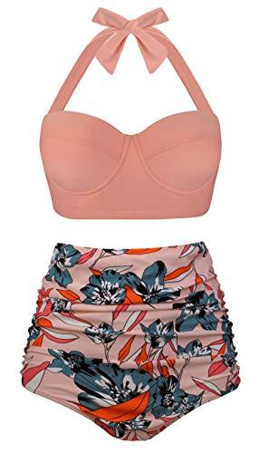 Angerella Ladies Athletic Bathing Suits Modest Cute Bikini Set Pastel Orange,L