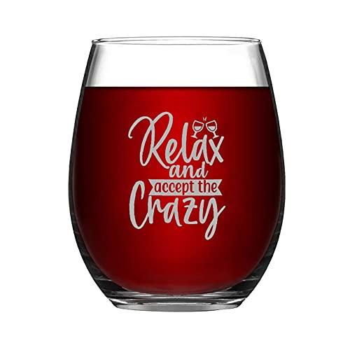 Copa de vino divertida y chic para relajarse y aceptar la loca copa de vino sin tallo, con grabado láser, para whisky, vino tinto y refresco, regalo de leche para mamá, papá, amiga o ella