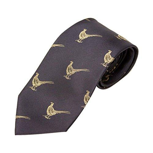 Bisley Pheasants Navy 100% Silk Tie - Shooting and hunting - Handmade