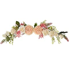 """【Size】-- This flower swag measures 25"""" in length. 【Handcrafted】-- Completely handmade. Assorted fake peony, rose, green leaves and pink seeds in both ends. 【Versatile Decoration】-- Artificial swag can be used both indoor and outdoor making it a versa..."""