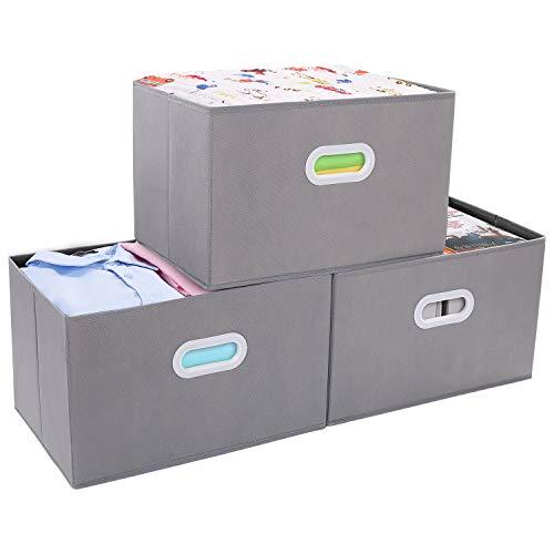 DIMJ Cajas Almacenaje, Juegos de 3 Cajas Organizadoras de Cubos de Almacenamiento con Ropa y Libros para Dormitorios y Estanterías