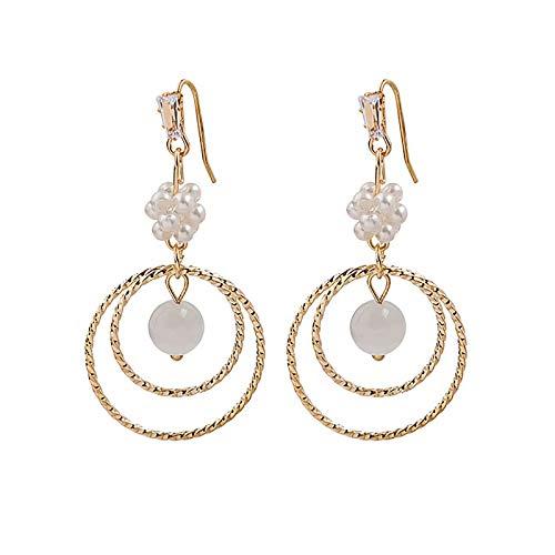 CHENYUXIA Pendientes de plata con brillantes redondos y perlas de imitación, simple, creativo, temperamento, suaves y versátiles.
