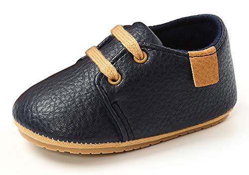 Happy Cherry - Zapatos de bebé para bebé o niña, de piel suave, antideslizantes, zapatillas bajas Azul oscuro. 6-12 Meses