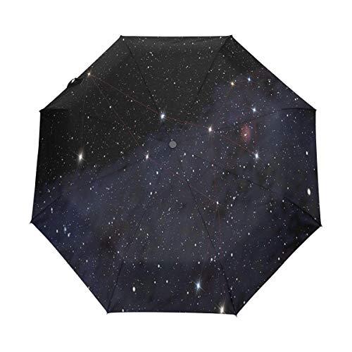 Bigjoke Regenschirm, 3-Fach faltbar, automatischer Öffnung, für Galaxie, Sternenhimmel, Winddicht, für Reisen, Leichter Regenschirm, kompakt für Jungen, Mädchen, Männer, Frauen