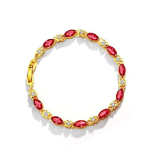JCX Pulsera rubí, Pulsera chapada en Oro de 24k Mujer