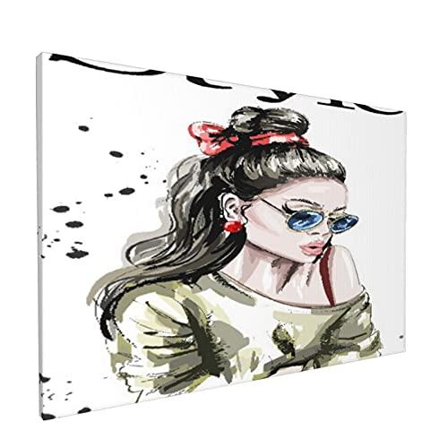JOSENI Lienzo Mural Pintura al óleo Decoración del Hogar de Oficina,Hermosa Mujer Joven en Gafas de Sol,Marco de Madera para Sala de Estar Comedor Dormitorio,18' x 12'