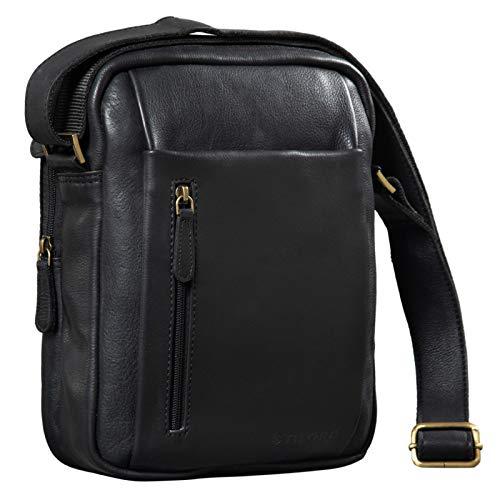 STILORD 'Irving' Vintage Leder Tasche Schwarz Umhängetasche für 10,1 Zoll und iPad Tablettasche DIN A5 Handtasche Messenger Bag Echtleder