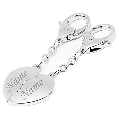 Schlüsselanhänger Herz mit Gravur | Personalisierbarer Paar Anhänger für Taschen, Koffer, Schlüssel