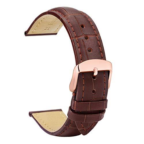 TStrap Cinturino Pelle 20mm - Cinturini per Orologio Marrone - Uomo Donna – Chiusura Oro Rosa - 18mm 19mm 21mm 22mm