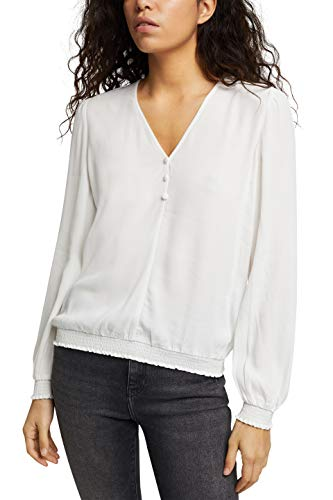 edc by ESPRIT Damen 110CC1F312 Bluse, 110/OFF White, L