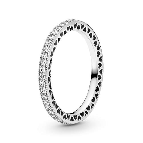 Pandora Jewelry - Sparkle and Hearts Ring for Women in Sterling Silver with Clear Cubic Zirconia, Size 6 US / 52 EURO