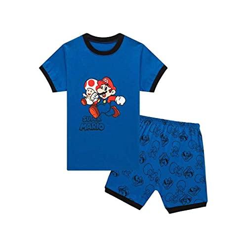 Jungen Super Mario Nachtwäsche Nachtwäsche Pyjama Sets Kinderkleidung Gr. 6-7 Jahre, blau