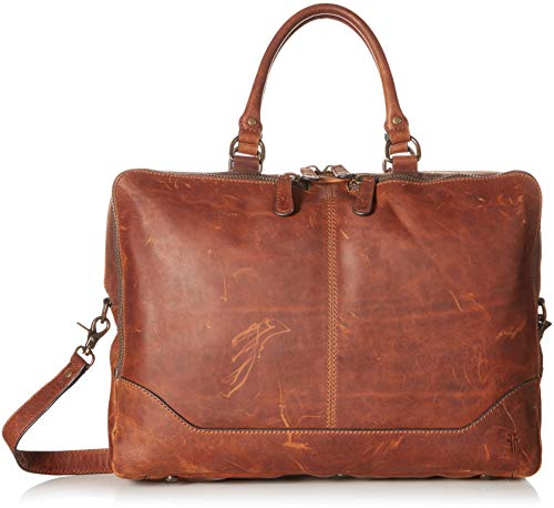 FRYE Men's Logan Zip Work Bag, Cognac, One Size
