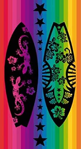 Regalitostv Toalla de Playa - Grand Confort - 100% Algodón Egipcio Absorbente y Secado Rápido (95_x_175_cm, Tablas Surf Multicolor)