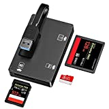 GIKERSY SD Card Reader, 3 in 1 USB 3.0 Memory Card Adapter 5Gbps Read 3 Cards Simultaneously,Card Holder Case for CF/SD/SDXC/SDHC/MMC/TF/Micro SD/Micro SDXC/Micro SDHC,UHS-I Card