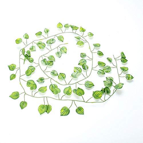 Xinger Kunstmatige klimop groen blad Garland planten Vine nep gebladerte bloemen Home Decor kunststof kunstbloem rotan string, 5