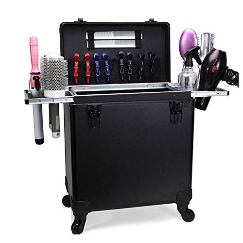 DDL Makeup Case Lockable Artist Beauty Train Case Travel Stylist Hairdressing Trolley Cosmetic Box Hair Luggag