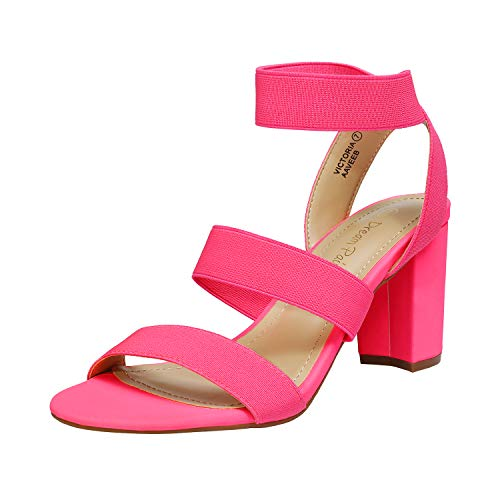 DREAM PAIRS Women's Neon Pink Open Toe High Chunky Elastic Strap Dress Heel Sandals Size 10 US Victoria