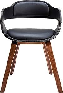 Kare Design Stuhl mit Armlehne Costa Walnut, moderner, bequemer Esszimmerstuhl, brauner, schwarzer Designstuhl aus Kunstleder und Walnussholz, Braun-Schwarz (H/B/T) 70,5x52x51cm
