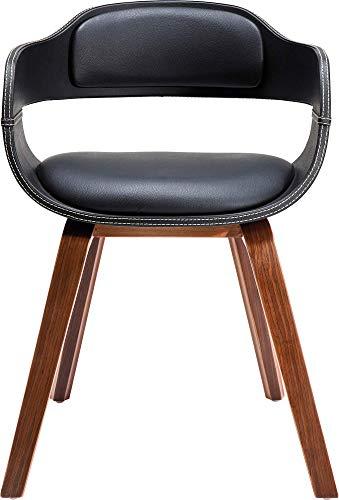 Kare Design Stuhl mit Armlehne Costa Walnut, moderner, bequemer Esszimmerstuhl, brauner, schwarzer...