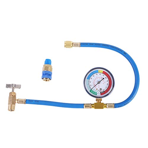 JIFETOR AC Charge Hose with Gauge for R134A