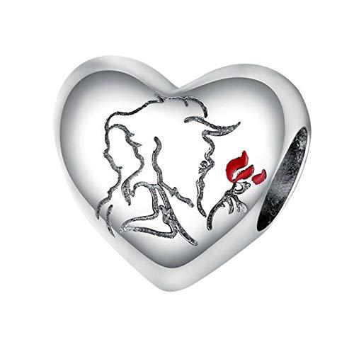 HMMJ Los encantos cuelgan Las Cuentas, S925 Sterling Silver Love Silhouette DIY Colgante Hecho a Mano para Pandora Troll Chamilia Charm Pulsera Collares