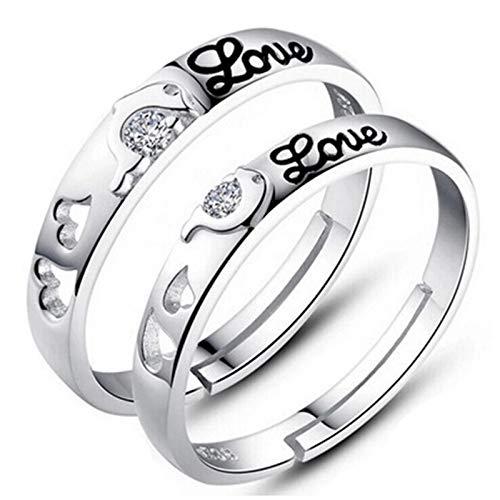 AiZnoY Silber Ringe Paare Ehering Silber 925 Puzzle Delphin Herz mit Zirkonia Love Silber Verstellbar Ring