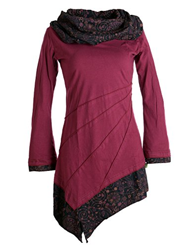 Vishes - Alternative Bekleidung - Asymmetrisches Kleid aus Baumwolle mit Schalkragen dunkelrot 34 (XS)