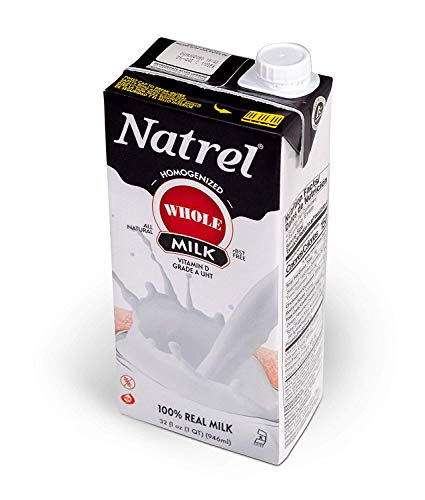Natrel | Whole Milk | 32 Ounce | Pack of 12 | Shelf Stable Milk | Gluten-Free | Kosher | Non-GMO | No Refrigeration Needed | Fresh Taste that Lasts for Months | Made in the U.S.A
