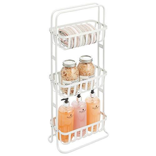 mDesign mobiles Metallregal – schmales Regalsystem mit 3 Ablagekörben aus Metall – kompaktes Korbregal für das Badezimmer – mattweiß