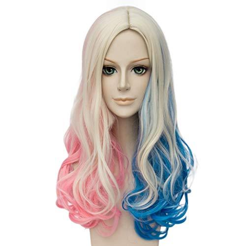 Cvthfyky Harleen Quinzel peluca cosplay Anime, Rose fibra resistente de alta temperatura neto, de pelo largo rizado, Gradiente, 21.6 pulgadas (Color : A)