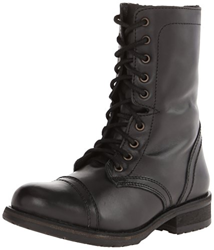 Steve Madden Women's Troopa 2.0 Combat Boot, Black Leather, 9 M US