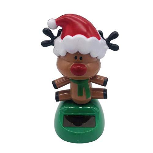 CHENSTAR Figuras navideñas con forma de cabeza de bobble con energía solar, figura animada para oficina, hogar, escritorio, ventana, salpicadero de coche