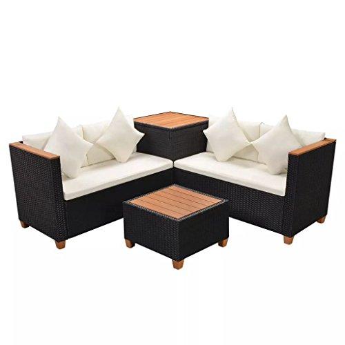 SSITG Canapé de jardin 14 pièces en polyrotin WPC Noir Ensemble de jardin lounge Set