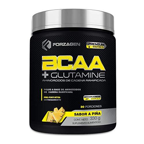 Aminoacidos BCAA + Glutamina + Complejo de Hidratación Hydragen (Calcio + Agua de Coco) Forzagen Premium Series 330 g (Piña)
