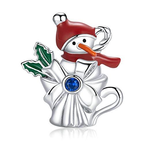 HMMJ S925 Sterling Siling Charms Beads, Christmas Snowman Cup DIY Colgante Hecho a Mano Compatible con Pandora Troll Chamilia Pulsera Europea Collares