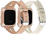 Correa de Reloj Compatible con Fitbit Versa, Reloj de Pulsera de Piel auténtica, Estilo Vintage (2PCS B)