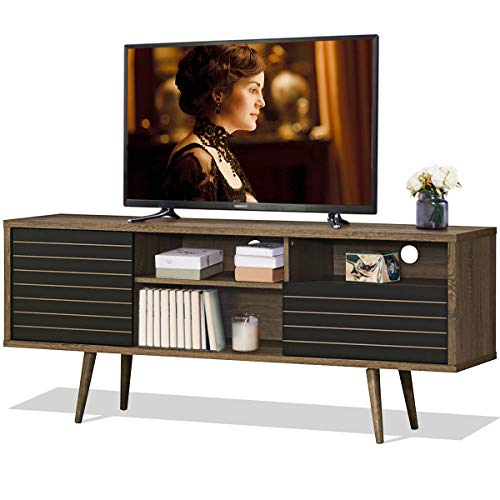 Tangkula Mid-Century Modern TV Stand for TVs up to 65'', Wooden TV Stand with Shelves, w/Cabinet & Drawer, TV Console Cabinet for Home Living Room Bedroom (Walnut & Black)