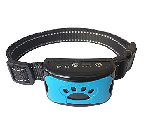 Antibell Halsband Hund, Wiederaufladbares No Harm Erziehungshalsband Hund mit Vibration, Sound und No-Schock für Kleine Mittelgroße Hunde Blau