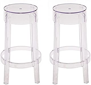 Set of 2 Charles Style Modern Ghost Counter Stool in Clear Finish