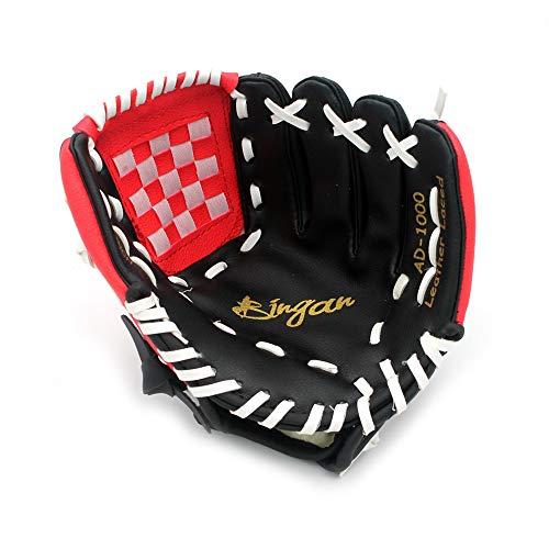 HAI+ Youth, Junior, Children's Teeball Gloves, Baseball Glove, Softball Mitts, Fit for Beginner or Infielder,Left Hand Glove … (Black/red, 9.5)