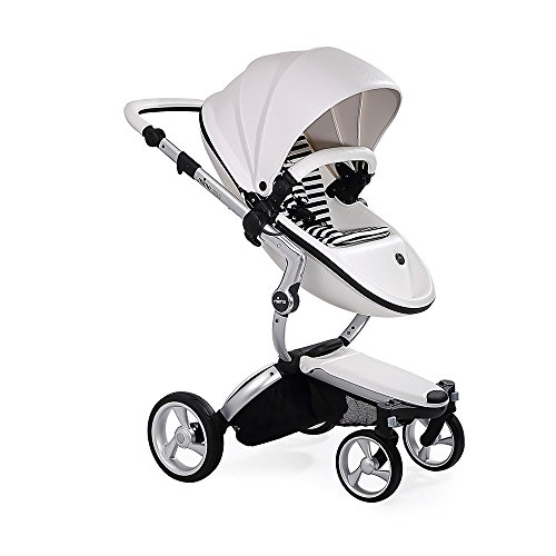 Find Bargain Mima Xari Stroller Aluminum Chassis Snow White Seat Black and White Starter Pack, Alumi...
