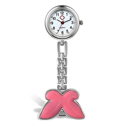 Lancardo Damen Taschenuhr, Krankenschwester Uhr Analog Quarzuhr aus Legierung, mit Schmetterling Design Schwesternuhr, pink