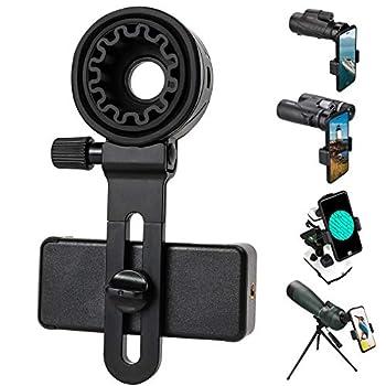 Telescope Phone Adapter Universal Cell Phone Mount Compatible Binoculars Monocular Microscope Spotting Scope Telescope Smartphone Holder Clip Bracket Fits Almost of Mobile Phones