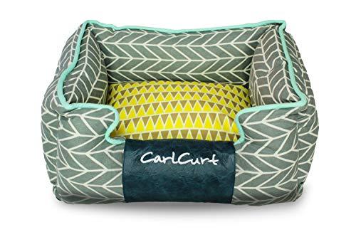 CarlCurt - Fashion Line: Kuschelweiches Hundebett Mit Angenehmen Weichen Kissen Und Strapazierfähigen Außenteil Aus Leinengwebe, M 65 x 55 x 25cm, Blau-Grau