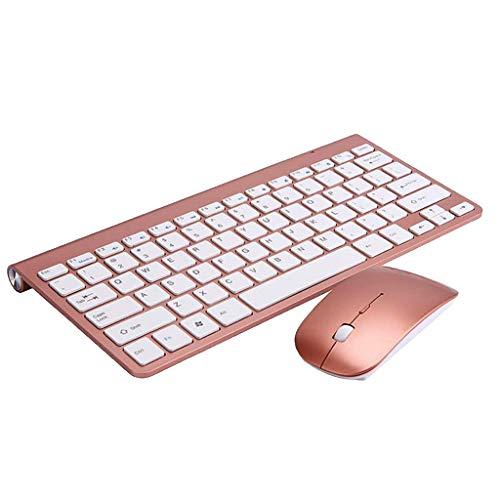 H HILABEE Nuevo Conjunto Combo de Teclado Y Mouse Inalámbrico a Prueba de Agua Delgado para Computadora Portátil PC - Dorado Rosa