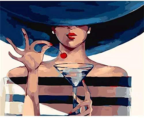 Pintura por números para adultos y niños kits de regalo de pintura al óleo de bricolaje lienzo preimpreso decoración del hogar con pinceles y pigmento acrílico niña bebiendo 40 * 50 cm (sin marco)