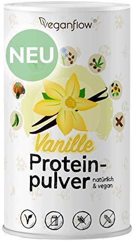 veganflow® vegan Protein, pflanzliches Eiweißpulver, ohne Soja, glutenfrei und laktosefrei, veganes Proteinpulver (Vanille)